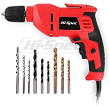 """Hi-Spec 400W Multi Purpose Corded Electric Power Drill 3/8"""" (10mm) Keyless Chuck, Variable Speed Control. With 9 Piece Drill Bits for Metal, Masonry, Wood & Plastic DIY Drilling & Repairs in the Home"""