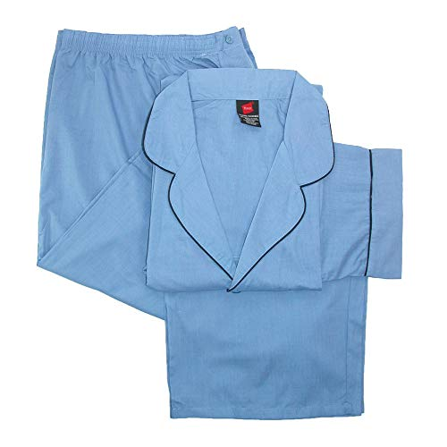 Hanes Men's Big & Tall Broadcloth Long Sleeve Pajama Set, Blue, XXX-Large