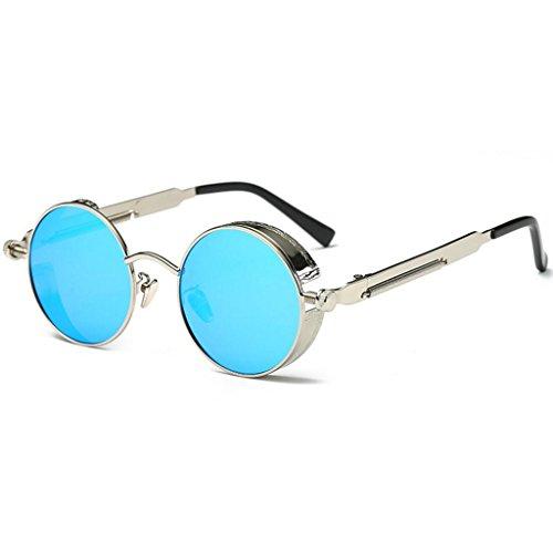 redondo Retro círculo estilo One gafas hombres sol Steampunk size GAOLIXIA sol polarizadas Rosado metal para inspirado Color de reflexivas Blue Sra tamaño Gafas de Yw1IxOq8I