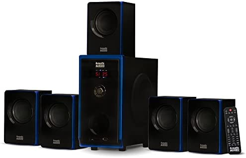 Acoustic Audio AA5102 Bluetooth Powered 5.1 Speaker System Dwelling Theater Encompass, Black (AA5102)