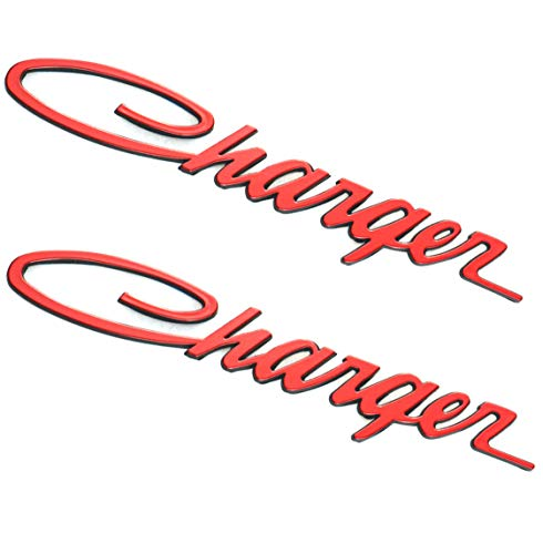 Aimoll 2pcs Charger Nameplate Emblems,Badges Decal for Dodge Charger Chrysler Mopar Finish (Red)