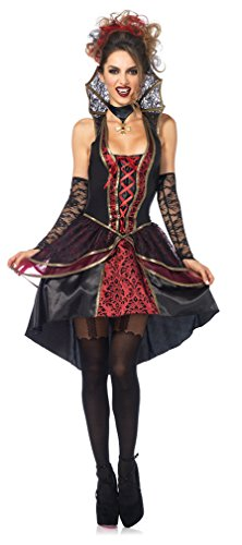 Leg Avenue Women's 3 Piece Vampire Queen Costume, Black/Burgundy, ()