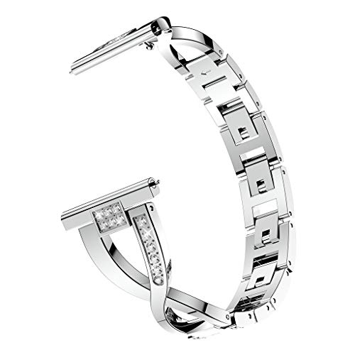 (YaidaReplacement Metal Crystal Watch Strap Wrist Band for Samsung Galaxy Active (Silver))
