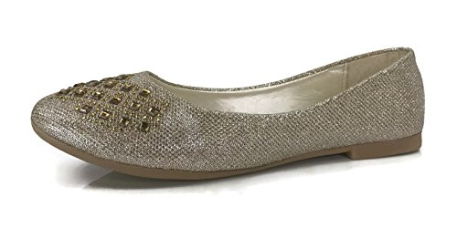 Womens Crystal LN-62W Rhinestone Ballet Flats Slip On Shoes, Runs 1/2 Size Small Gold, 7