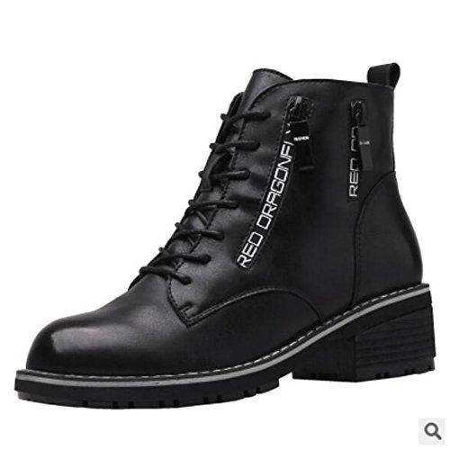 Invierno de marrón Otoño mujer para negro Talón Confort HSXZ Gray Chunky Gris Casual cuero Zapatos Botas Nappa cerrado Toe Yw6qRgx