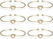 Subiceto 6 Pcs Knot Bangle Bracelets Simple Love Cuffs Bridesmaid Bracelets for Women Girls Stretch Bracelets