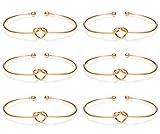 LOLIAS 6 Pcs Love Knot Bangle Bracelets Simple Cuffs Bridesmaid Bracelets for Women Girls Stretch Bracelets,Rose-Gold Tone
