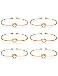 LOLIAS 6 Pcs Love Knot Bangle Bracelets Simple Cuffs Bridesmaid Bracelets for Women Girls Stretch Bracelets