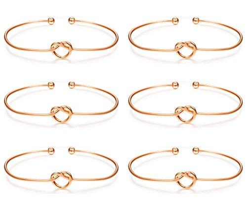 Bridesmaid Jewelry Pouch (LOLIAS 6 Pcs Love Knot Bangle Bracelets Simple Cuffs Bracelets for Women Girls Stretch Bracelets Adjustable Rose Gold-tone)