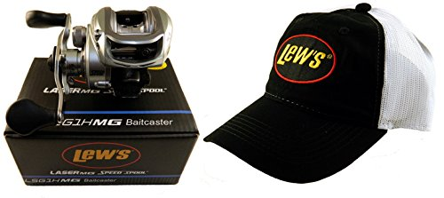 Bundle - Lew's Laser MG LSG1HMG 6.4:1 Right Hand Baitcaster Reel with Hat