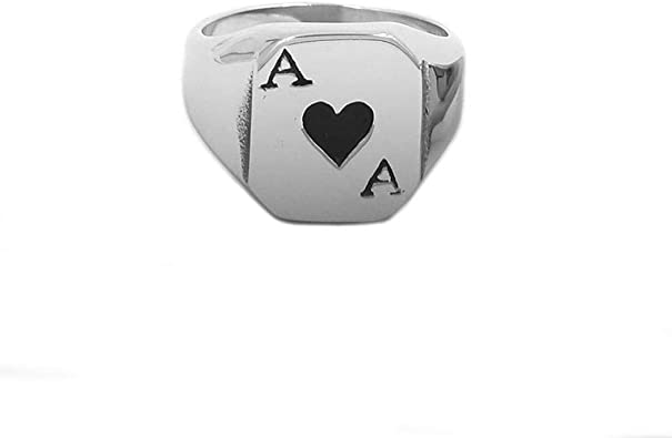 JEWURA Couple Love Ring Black with Silver Hearts Stainless Steel Jewelry