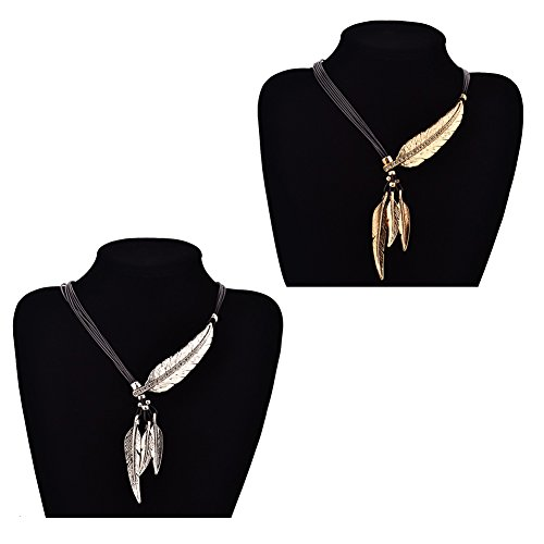 Braided Gold Tassel (Miraculous Garden Womens 2pcs Vintage Multi-layer Black Braided Genuine Leather Cord Rope Antique Silver/Gold Feather Leaf Chain Charm Pendant Tassel Necklace Sweater Chain Necklace (Silver+Gold))