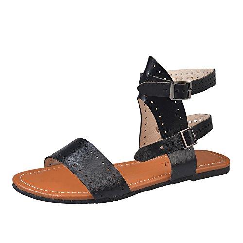 MILIMIEYIK Sandals for Women Wide Width, Women's Fashion Ankle Strap Buckle Low Wedge Platform Heel Comfortable Sandals Shoes Black -