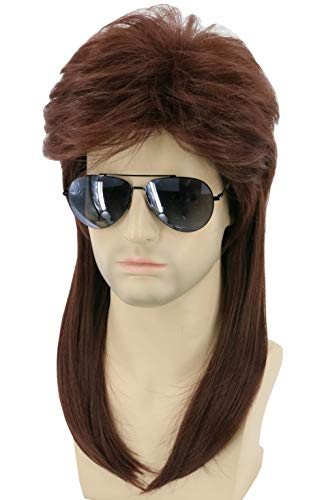 Topcosplay Long Wigs for Men Brown 80s Mullet Wig Redneck Wig Rocker Wig White Trash Halloween Costume Wig(Dark -