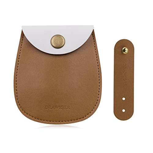 DRAWIGER Earbud Case Pouch and Winder Micro Fiber Leather for Airpods Set of 2, Brown