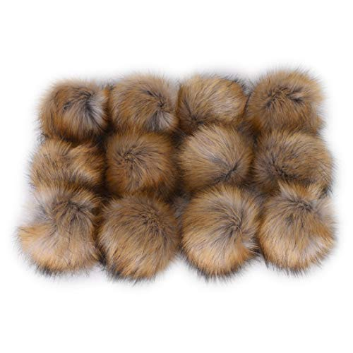 (JINSEY 12pcs Faux Fox Fur Fluffy Pompom Ball For Hat Shoes Scarves Bag)