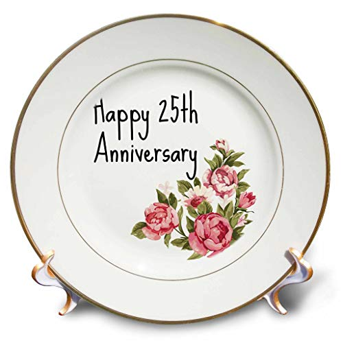 3dRose Gabriella B - Quote - Image of Floral Happy 25th Anniversary Quote - 8 inch Porcelain Plate (cp_304099_1)
