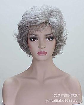 lfnrr Vieja Mujer peluca pelo peluca blanca plata gris, alta calidad, 1