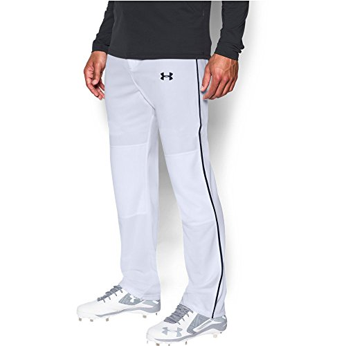 Under Armour Men's Clean Up Piped Baseball Pants, White/Black, Large Under Armour Baseball Pants