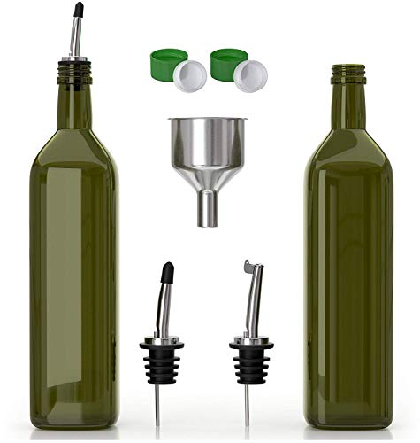 Olive Oil Dispenser -2 Pack of 17 oz. Glass Bottles and Pourer Spout Set for Kitchen - Oil & Vinegar Cruet/Decanter with Funnel - Set of Two: Use One, Have ()
