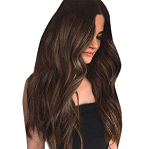 Akashkrishna Women Beauty Brown Long Front Curly Wave Soft Hair Full Lace Wig DIY Fashion 70CM Nature Looking Cosplay…