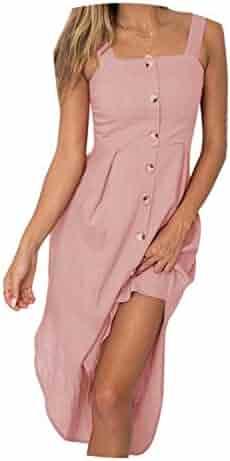 411a546182 four- Solid Button Sexy Casual Summer Strap Dress Long Boho Beach Women  Sundress Sleeveless