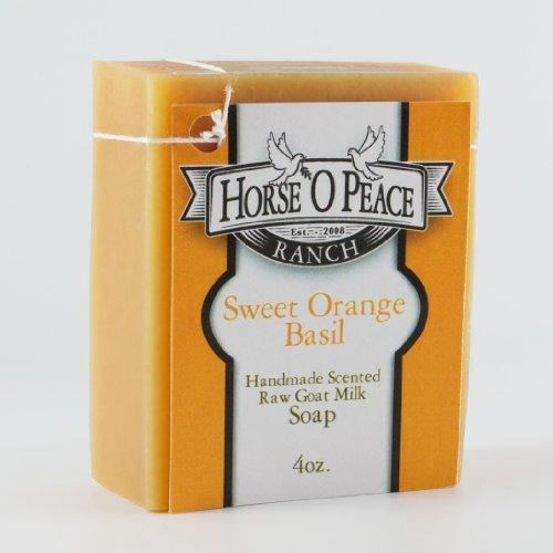 Handmade Herbal 100% Raw Goat Milk Sweet Orange Basil Soap (4.5oz./Bar)