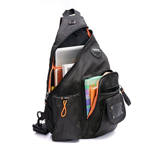 DDDH 13.3-Inch Sling Bag Riding Hiking Bag Single Shoulder Backpack For Men Women(Grid black)