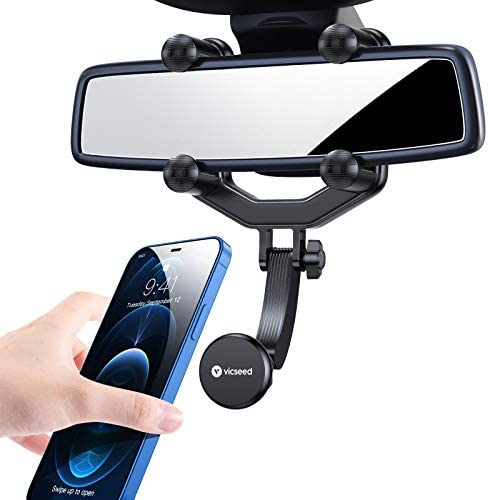 VICSEED Phone Car Holder Magnetic Vehicle Rear View Mirror Phone Mount, [6 Strong Magnets & Easy Install] 2021 Universal Cell Phone Automobile Cradles Fit with iPhone 12 Pro Galaxy S21 All Smartphones