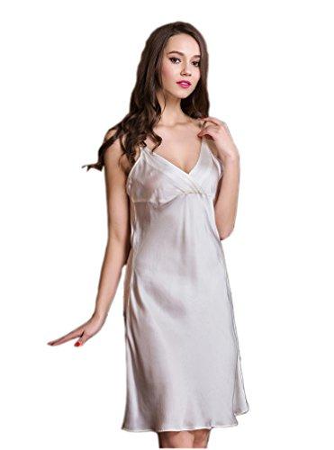 nbsp;momme pura da notte donna Basic seta vestito White 100 Wrap anteriore Silktalk 19 qXP6zww8
