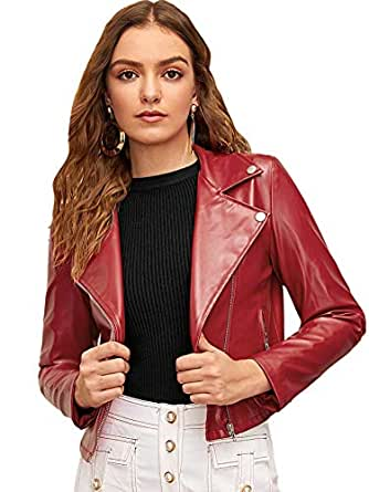 MAKEMECHIC Women's PU Leather Zipper Notch Collar Crop Motorcycle Biker Jacket Red X-Small