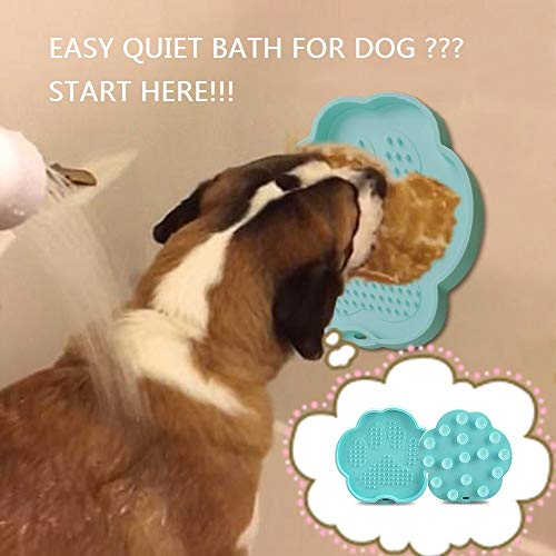 Pet Bath Buddy for Dog, Silicone Lick Bowl Pad Paw Shape Slow Feeder with Sucker Mounted on Wall, Bathtub Glass, Dog Easy Quiet Bath Toy - Essential Pet Supplies