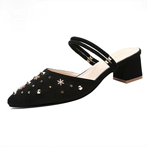 Fei Fei FEI Chanclas Sandalias de tacón grueso Mujeres Verano Dos en uno Zapatos de mujer de tacón medio Nueva Moda exterior Baotou Medias medias Sandalias salvajes Beige Negro Antidérapant Negro