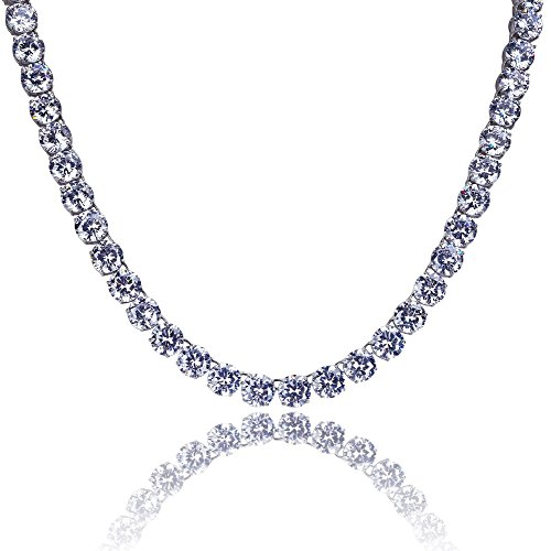 - JINAO Silver Plated 1 Row 8MM Lab Simulated Diamond Iced Out Chain Men's Hiphop Tennis Necklace (White Necklace, 24)