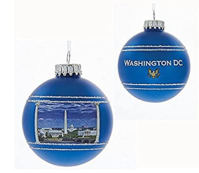 Blue Washington DC 80MM Glass Ball Christmas Ornament US Capitol City D2831 New