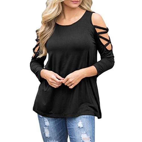 Clearance! Seaintheson Women's Sexy Strappy T-shirt Shoulder Long Sleeve Tops Bandage O-Neck Blouse Loose Pullover Shirts -