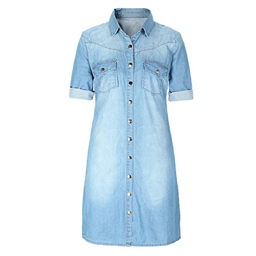 Felove Women's Botton Down Denim Shift Shirt Dress Denim Shift