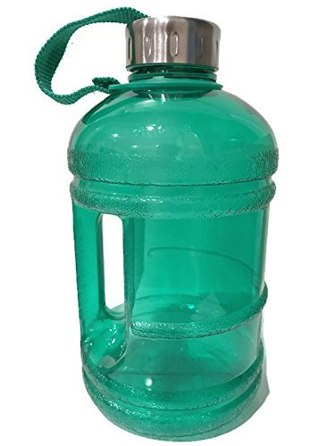 1/2 Gallon BPA Free FDA Approved Reusable Plastic Drinking Water Bottle Jug Container w/ Hand Holder Canteen and Stainless Steel Cap (Green)