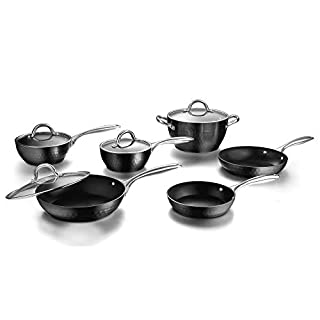 cooper pan Diamond-Infused Nonstick Induction Safe Cookware Set, Scratch-Resistant Pots and Pans Set with Glass Lids