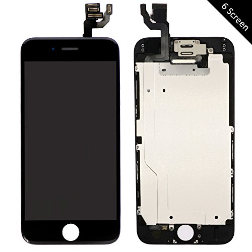 Pre-Assembled LCD Display and Touch Screen Digitizer Replacement for iPhone 6 (4.7 inch), Compatible with A1549, A1586, A1589 iPhone 6 Model, Including Repair Tools (6 Black)