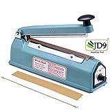 JD9 8 inches Plastic Heavy Duty IB Heat Sealer, Heat Sealer for Plastic Bag, Heat Sealer Machine, Heat Sealer for Plastic Bag 8' inch, Impulse Sealer, Impulse Sealer Machine, Packing Machine (Blue).