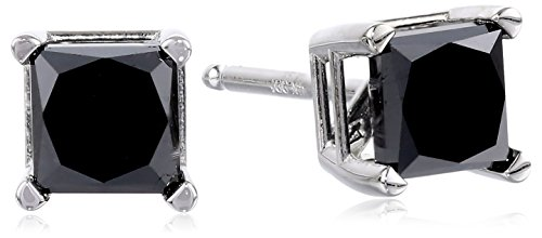 14k White Gold Princess-Cut Black Diamond Stud Earrings (1.00 cttw)