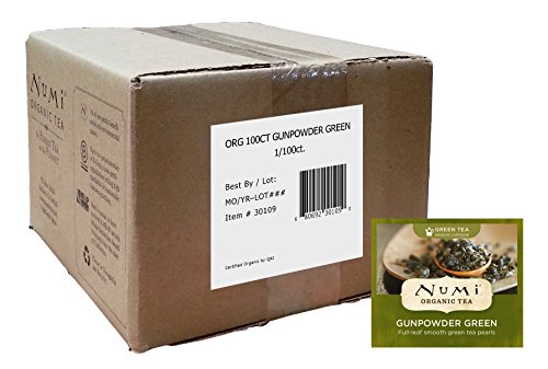 Numi Organic Tea Gunpowder Green, 100 Count Box of Tea Bags, Bulk Green Tea in Non-GMO Biodegradable Tea Bags, Premium Bagged Organic Green Tea, Drink Hot or Iced