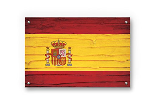 Spain Flag Graffiti Wall Art Printed on Brushed Aluminum by Buttered Kat (Large (33 x 22 Inches)) by Buttered Kat