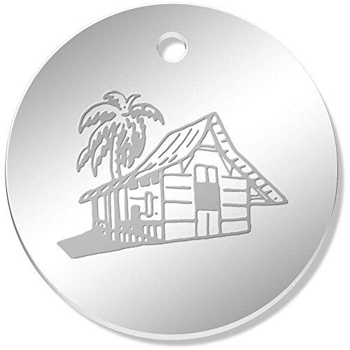 11 x 34mm 'Beach Hut' Mirror Pendants / Charms - Beach Hut Mirror