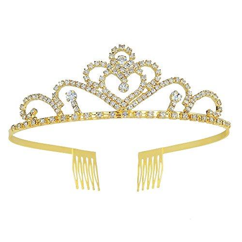 Gold Crystal Crown (Stuff Crystal Crown Bridal Tiaras Crown Party Wedding Bridesmaid Headband Pageant Gold Princess Crown)