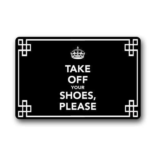 Family Decor Doormat Indoor Rubber Non Slip Entrance Way Welcome Door Mat for Bathroom/Kitchen/Front Door Waterproof Absorb Area Rugs Floor Runner Carpet, Please Take Off Your Shoes (Black) (Carpet Entrance)