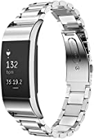 "Fitbit Charge 2 Strap Wristbands Replacement, Premium Adjustable Stainless Steel Metal Watch Band Strap for Fitbit Charge 2 Watch Fitness Tracker (6""-7.87"")"