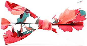 Men's Skinny Tie Floral Print Cotton Bowtie Bow Tie Red