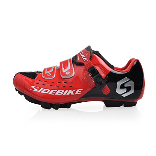 SIDEBIKE MTB Cycling Shoes Men's Professional Mountain Bike Shoe (SD001-Red Black, EU45/US12/ Ft290mm)